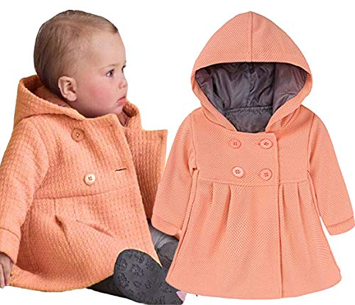 EGELEXY Baby Girl's Hooded Wool Cotton Trench Coat Outwear 18-24months Pink -