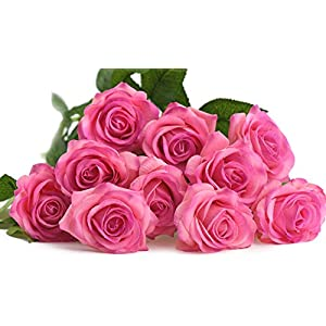 FiveSeasonStuff 10 Stems of Real Touch Silk Roses 'Petals Feel and Look like Fresh Roses' Artificial Flower Bouquet for Wedding Bridal Office Party Home Decor 12