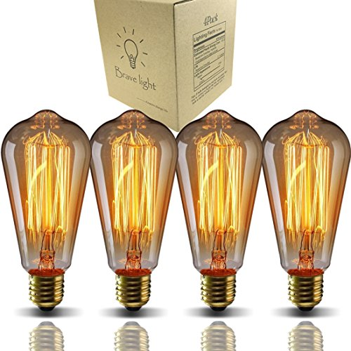 (Bravelight Vintage Light Bulbs, Filament Light Bulbs,Edison bulbs ST64 E26 40W Dimmable,Squirrel Cage Filament Edison Lihgt Bulb for Restaurant Home Office Light Fixtures Decorative)