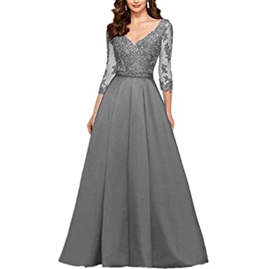 YuNuo Womens A-Line Mother Of The Bride Dresses Red Appliques Prom Dress Grey 2