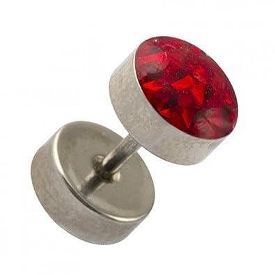 VOTREPIERCING Piercing Oreja Falso Dilatador Acero Quirúrgico 316L Discos & Cristal Rojo 1.2 x 6 x