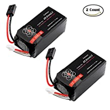 ZJchao 2pcs 2500mAh Ultra Light Adapter Lithium-Polymer Replacement Upgrade Battery for Parrot AR Drone 2.0