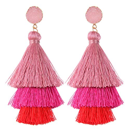Belmarti Colorful Christmas Tree-shaped Layered Tassel Dangle Drop Druzy Stud Earrings Holiday Party Christmas Costume Jewelry for Women Girls (Three-layered Pink-Red ()