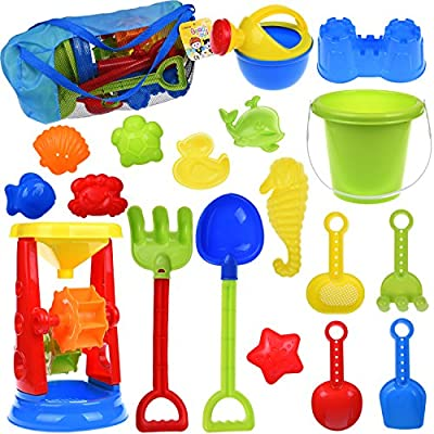 Kids Beach Sand Toys Set with Mesh Bag, Sandbox Toys Sand Wheel and Sand Molds, Tool Play Set, Watering Can, Shovels, Rakes, Bucket , Sea Creatures, Castle Molds 18pcs