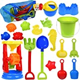 Toys : Kids Beach Sand Toys Set with Mesh Bag, Sandbox Toys Sand Wheel and Sand Molds, Tool Play Set, Watering Can, Shovels, Rakes, Bucket , Sea Creatures, Castle Molds 18pcs