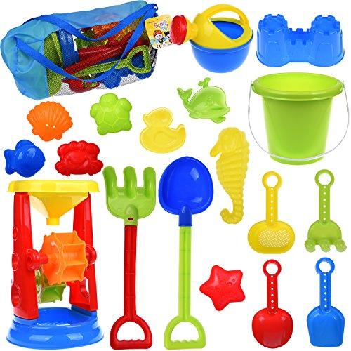 Kids Beach Sand Toys Set with Mesh Bag, Sandbox Toys Sand Wheel and Sand Molds, Tool Play Set, Watering Can, Shovels, Rakes, Bucket , Sea Creatures, Castle Molds 18pcs (Sand Reflections)