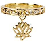 3 PCS Lotus With CZ Moveable Wholesale Gemstone Jewelry Charm Ring $6.73 PC