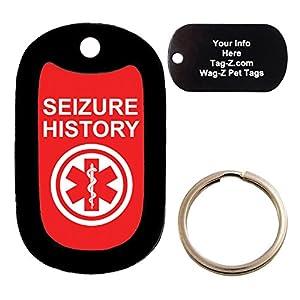 Custom Engraved Pet Tag - medical alert SEIZURE HISTORY - Dog Tag - Tag-Z Wag-Z