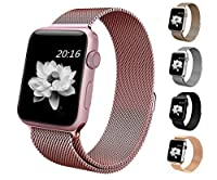 top4cus Apple Watch Band 38mm Double Plating Milanese Fully Magnetic Closure Clasp Mesh Loop Stainless Steel iWatch Band Replacement Bracelet Strap for Apple Watch 38mm Model- Rose Gold