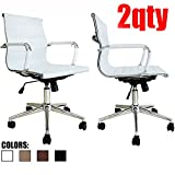 2xhome - Set of Two (2) - White - Eames Modern Mid Back Ribbed PU Leather Swivel Tilt Adjustable Chair Designer Boss Executive Management Manager Office Conference Room Work Task Computer