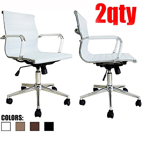 2xhome - Set of Two (2) - White - Eames Modern Mid Back Ribbed PU Leather Swivel Tilt Adjustable Chair Designer Boss Executive Management Manager Office Conference Room Work Task Computer (Managerial Mid Back Leather Chair)