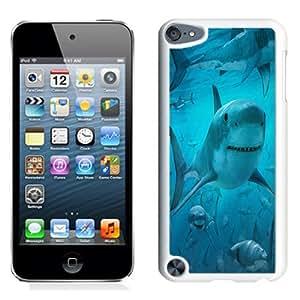 NEW Fashion Custom Designed Cover Case For iPod 5 Shark Frenzy White Phone Case