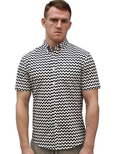 Allegra K Men Chevron Print Short Sleeves Pocket Shirt Black White L - Black And White Shirts For Men