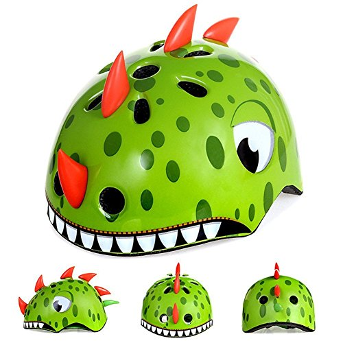 Awesome Boys/Girls Dinosaur Safety Helmet Children Multi-Sport Helmet for Skateboard Cycling Skate Scooter Roller
