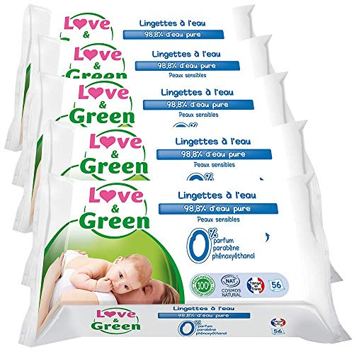 🥇 Love & Green – Amor y verdes Sensitive Wipes 56 Piezas Lote 5
