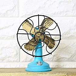 1 PCS Vintage Retro Vintage Fans American Rustic Coffee Bar Ornaments Interior Window Decorations AP5141548 (Color : Blue)