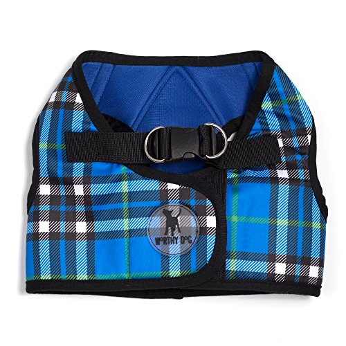 The Worthy Dog Printed Sidekick Plaid Harness for Dogs, X-Small, Blue