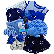 Whale Tails Fishing Fun Blue Baby Gift Basket, Boy Blue