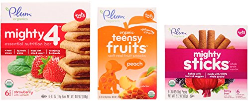 Plum Organics Toddler Snack Variety Bundle: (1) Mighty 4 Strawberry with Spinach Essential Nutrition Bars 4.02oz, (1) Peach Teensy Fruits 1.75oz, and (1) Berry Beet Mighty Sticks 2.12oz (3 Pack Total)