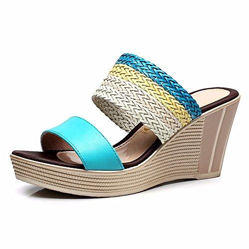 al EU sandali 39 zeppa spiaggia scarpe moda Estate mare spiaggia pantofole casual B antiscivolo YMFIE da da con e FwvSaTtqn