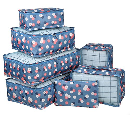 Vercord 7 Set Travel Packing Organizers Cubes Mesh Luggage Cloth Bag Cubes With Bra/Underwear Cube and Shoe Pouch, Blue Flower