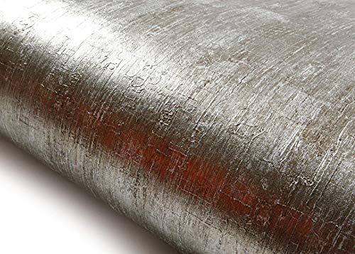 ROSEROSA Peel and Stick PVC Instant Metallic Decorative Self-Adhesive Covering Countertop Backsplash Abstract Metal (NI940 : 2.00 Feet X 6.56 Feet) (Metalic Silver Wallpaper)