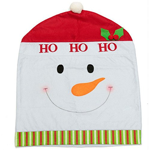 [EFINNY 1pcs/set Christmas Home Dinner Decor Xmas Santa Claus Snowman Deer Chair Back Covers 6050cm] (Womens Homemade Snowman Costume)