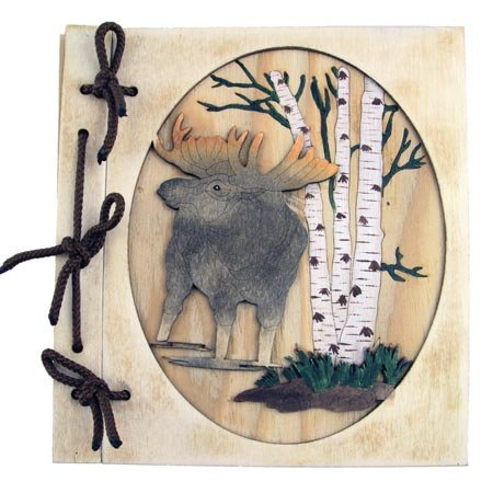 Rustic Wooden Moose Scene 36 Picture Photo Album, 5x7, 8-inch