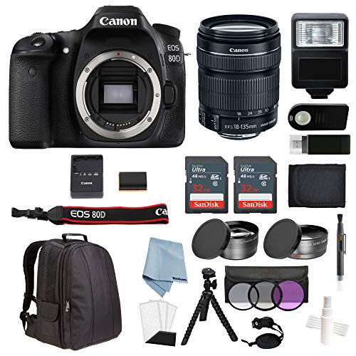 Canon EOS Rebel 80D Bundle With 18-135mm IS USM Lens + Advanced Accessory Kit – Including EVERYTHING You Need To Get Started For Sale