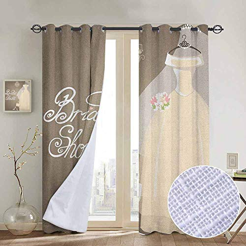 (NUOMANAN Blackout Lined Curtains Bridal Shower,Bride Party Wedding Dress Romantic Letterings Design Print, Grey White and Pale Brown,Thermal Insulated,Grommet Curtain Panel 1 Pair)