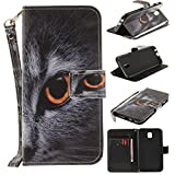 Misteem Case for Samsung Galaxy J5 2017 Animal, Cartoon Anime Comic Leather Case Wallet with Bookstyle Magnetic Closure Card Slot Holder Flip Cover Shockproof Slim Creative Pattern Shell Protective Cover for Samsung Galaxy J5 2017 [Cat's head]