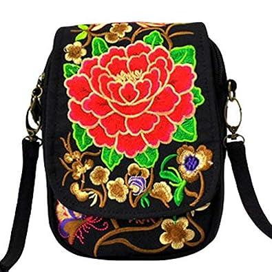 YAANCUN Femme Caractéristiques Zip Flip Canvas Floral Broderie Wallet Téléphone Sac à Bandoulière Mini Sac