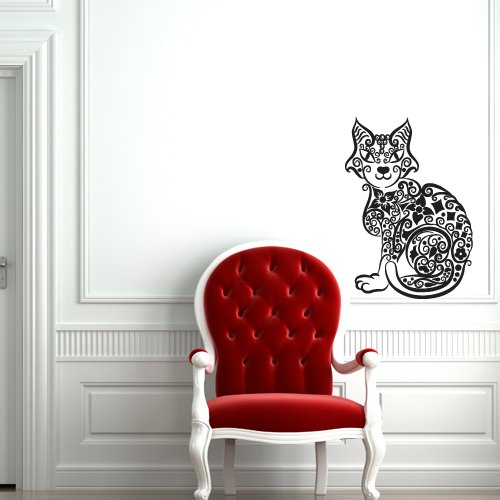 Wall Decal Cat Animal Pinstripes Grace Flowers bedroom -