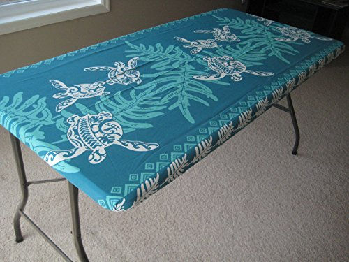 - Turtle Tropical Picnic Tablecloth (Fitted 6 feet picnic tables, spicing up any party) Teal