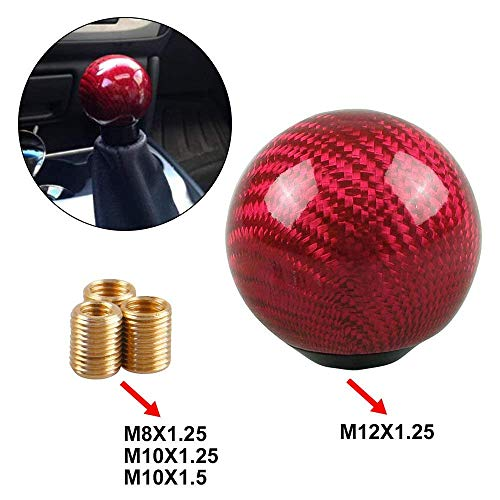 Sakali Durable Vehicle Carbon Fiber Ball Shift Shifter Knob with 3 Adaptors 8mm 10mm 12mm Inner Diameter Car Manual or Automatic Universal Gear Knob Red