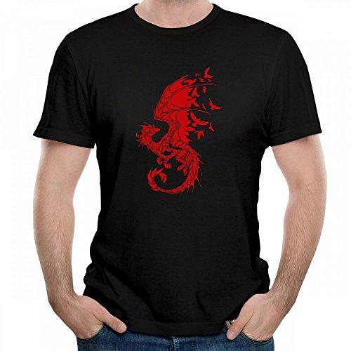 Zeyanzehong Dragon Birds Fantasy Fairytale Gothic Graphic Tee Men T Shirt Short Sleeve Black ()