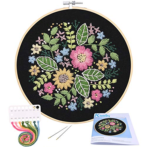 Full Range of Embroidery Starter Kit with Pattern, Kissbuty Cross Stitch Kit Including Stamped Embroidery Cloth with Pattern, Bamboo Embroidery Hoop, Color Threads and Tools Kit (Flower Bloom)