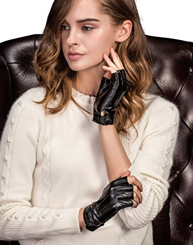 YISEVEN Ladies Lambskin Leather Half Finger Fingerless Motorcycle Driving Gloves