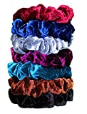 "Beauty : Syleia Set of 7 Velvet Scrunchies Hair Ties 3"" Diameter No Damage Super Comfort Durable Stay in Place Hair Accessories in red, royal blue, grey, black, brown, burgundy, light blue"