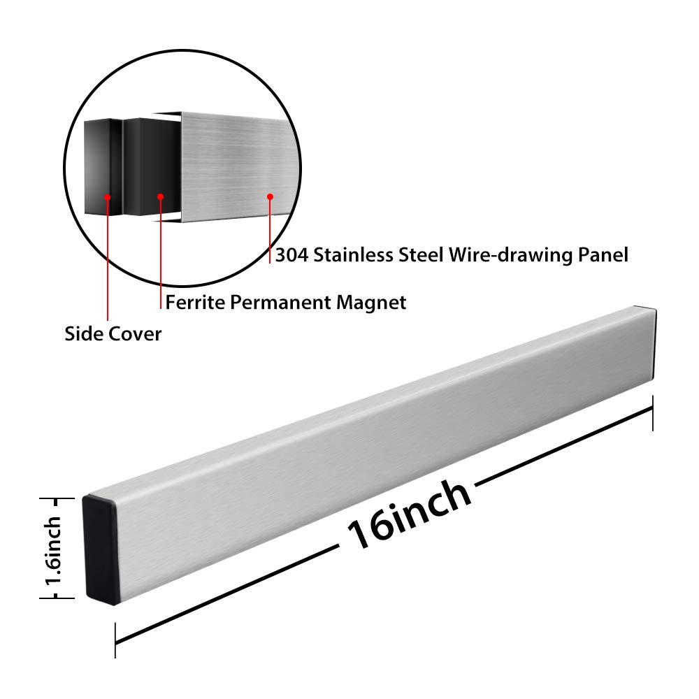 Magnetic Knife Strip, Villsure Stainless Steel Magnetic Knife Holder,Wall Mount Adhesive Magnetic Knife Rack Kitchen Utensil Holder, Tool Holder, Art Supply Organizer & Home Organizer by Villsure (Image #3)
