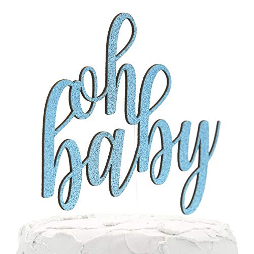 NANASUKO Baby Shower Cake Topper - oh baby - Double Sided Baby Blue Glitter - Premium Quality Made in USA