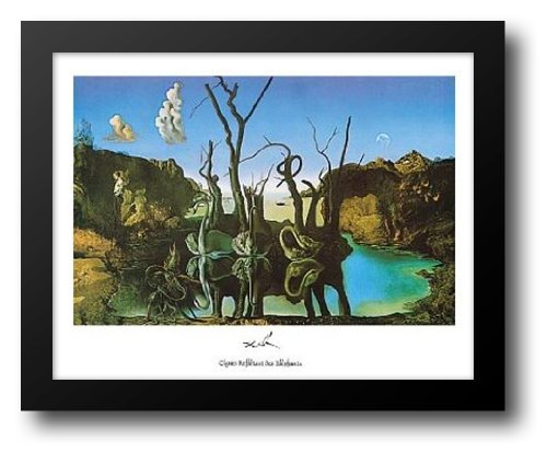 Elephants Swans Reflecting (Swans Reflecting Elephants 18x15 Framed Art Print by Dali, Salvador)