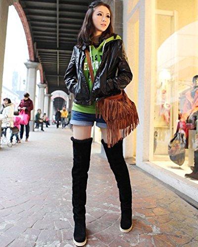 Zapatos Minetom Mujer Plataforma Moda negro Invierno Otoño Planos De Botas Botas Nieve Calentar wwvfxq