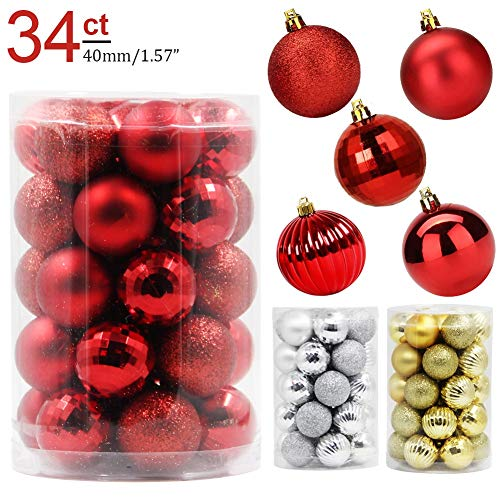 Lulu Home Christmas Ball Ornaments, 34 Pack Xmas Tree Decorations Hanging Balls Red 1.57