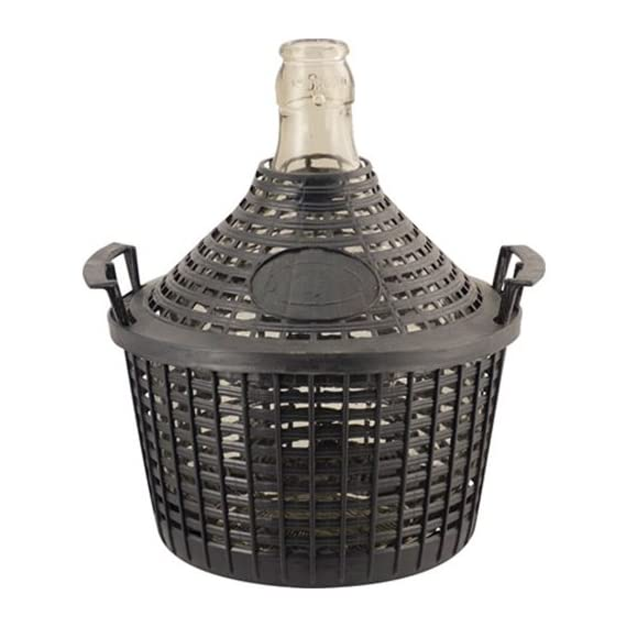 Eagle FE290 Glass Demijohn, 1.3 G (5 L), Narrow Mouth with Plastic Basket, Clear 1 Glass demijohns are great containers for wine, vinegar, kombucha, and many other beverages Classic teardrop shape and a plastic protective basket Narrow mouth demijohns are excellent for fermenting and storing wines, or other products where you do not need to get into the container