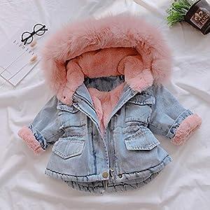 Marxways Toddler Kids Baby Girls Hooded Warm Fleece Warm Thick Denim Coat Long Sleeve Outwear for Winter (Pink – 90)