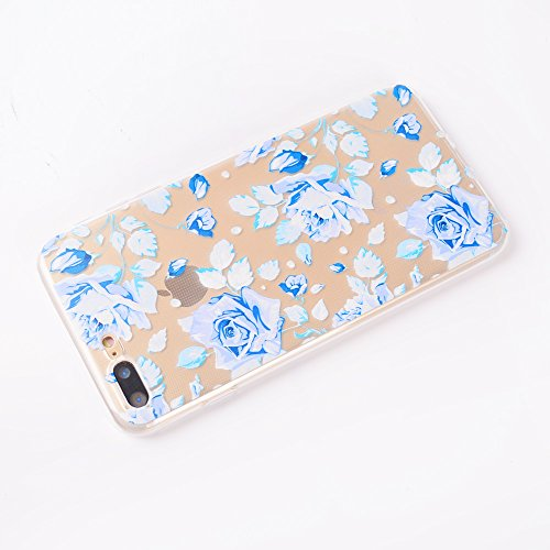 iPhone 7 Plus Coque , Leiai Mode Rose Bleue Ultra-mince Transparent Clear Silicone Doux TPU Housse Gel Etui Case Cover pour Apple iPhone 7 Plus