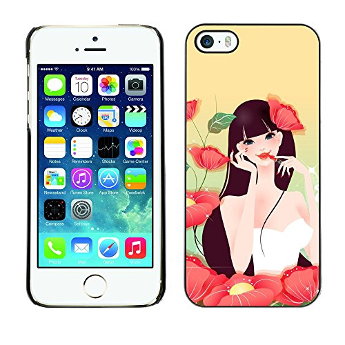 TaiTech / Case Cover Housse Coque étui - Girl Flowers Make Up Red Lips Sexy Nature - Apple iPhone 5 / 5S