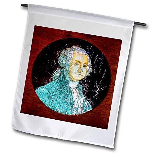 (3dRose Scenes from The Past - Magic Lantern - Primitive Drawing of George Washington Photo of Magic Lantern Slide - 18 x 27 inch Garden Flag (fl_301307_2))