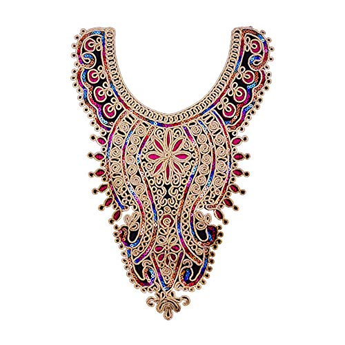Flower Sequin Embroidered Lace Gold Metallic Patches Decorated Sewing on Necklace Collar Applique T524